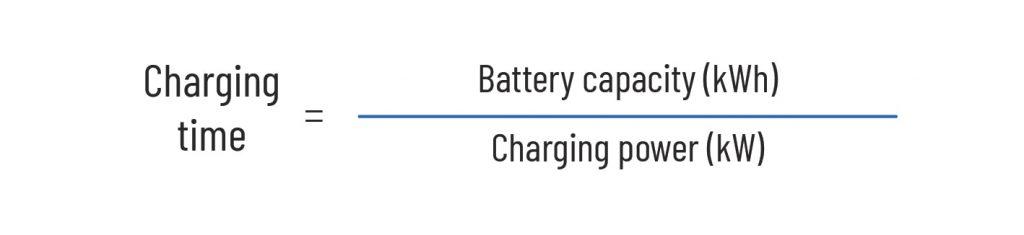 EV charging time formula kwh -kh