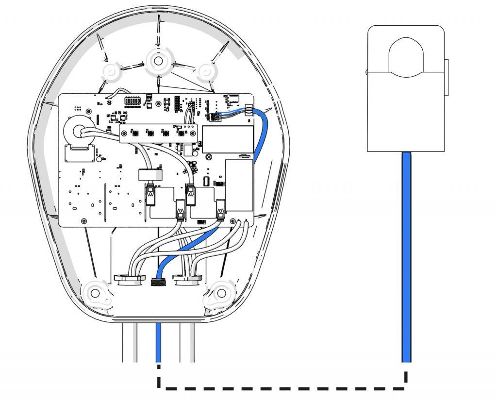 Schema funzionamento wallbox con sistema di bilanciamento carichi